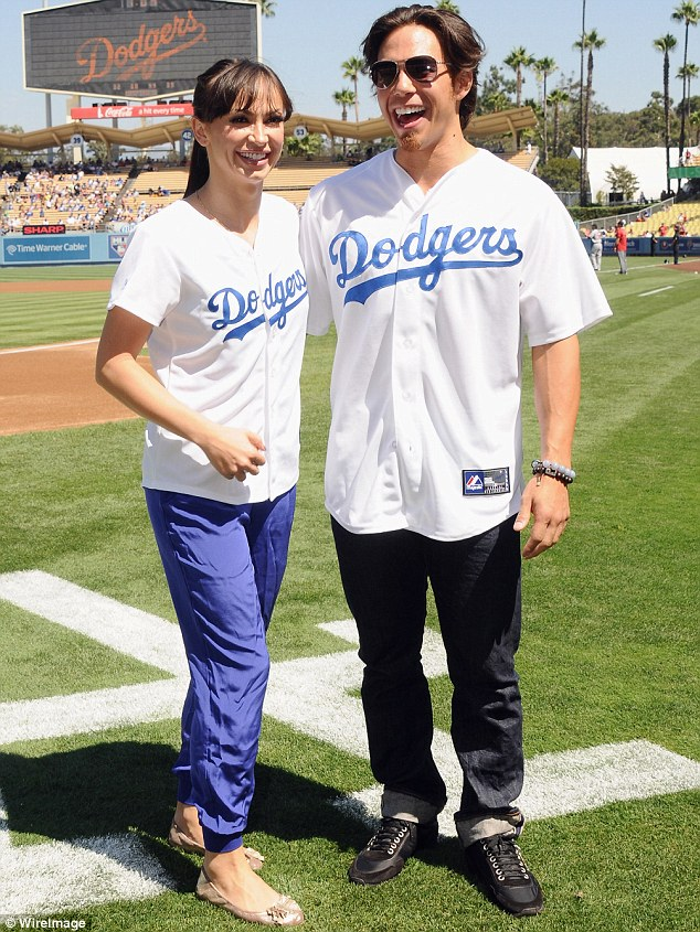 Warm-up act: Dancing With the Stars favourites Karina Smirnoff and Apolo Ohno riled up LA Dodgers fans before their game today