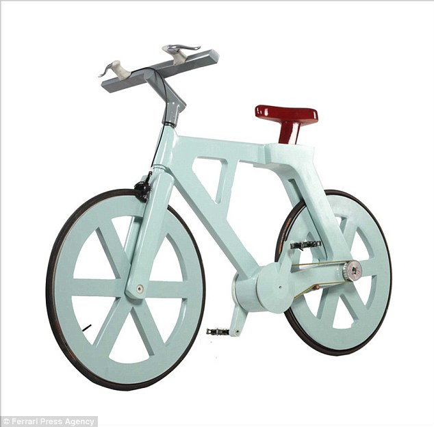 The £10 cardboard bicycle that could revolutionise third world transport. It is coated with a waterproof resin to protect it in the rain.