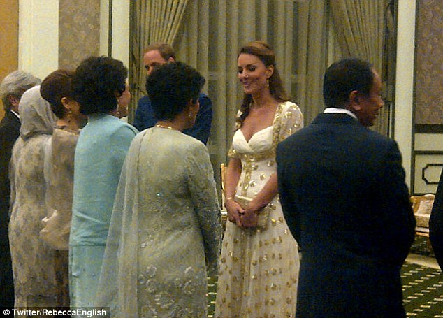Meet and greet: The couple attend a tea party at Istana Palace in Malaysia