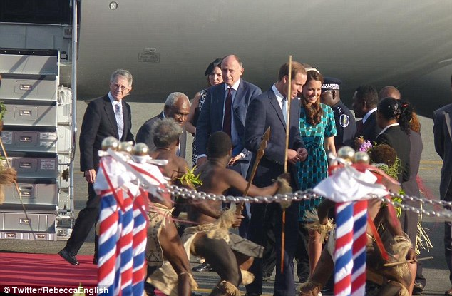 Welcome dance: Rebecca was there to watch the proceedings as the Duke and Duchess of Cambridge viewed 'fearsome' warrior dancers as they arrived in the Solomon Islands