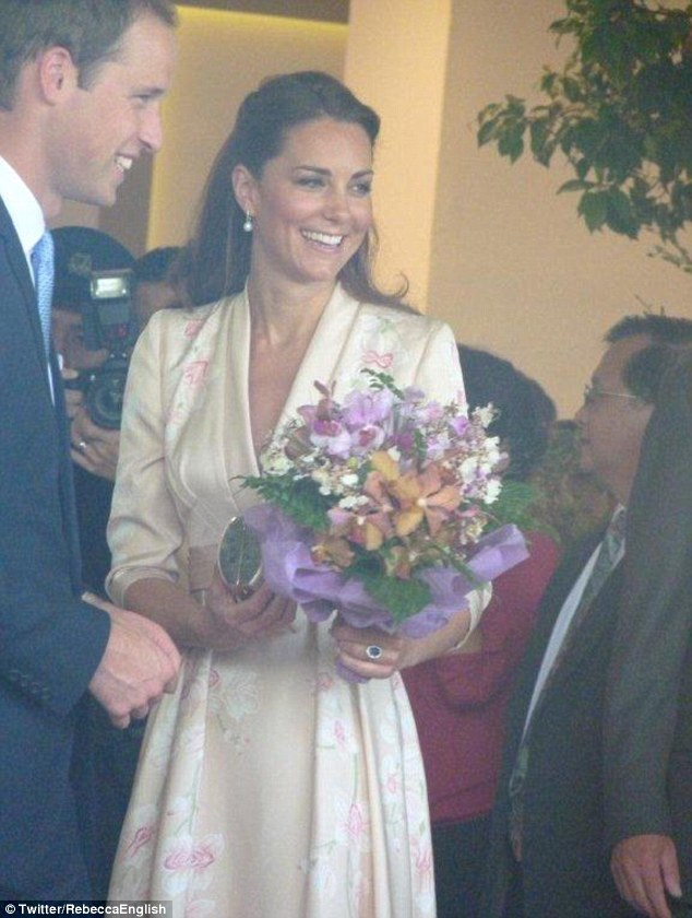 Blossoming: A snapshot of the Duchess in a kimono-style dress during her and Prince William's tour of Asia