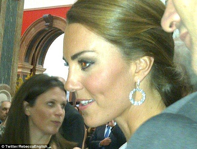 Getting in on the action: Rebecca was alongside Kate as she attended a reception at the Royal Academy of Arts