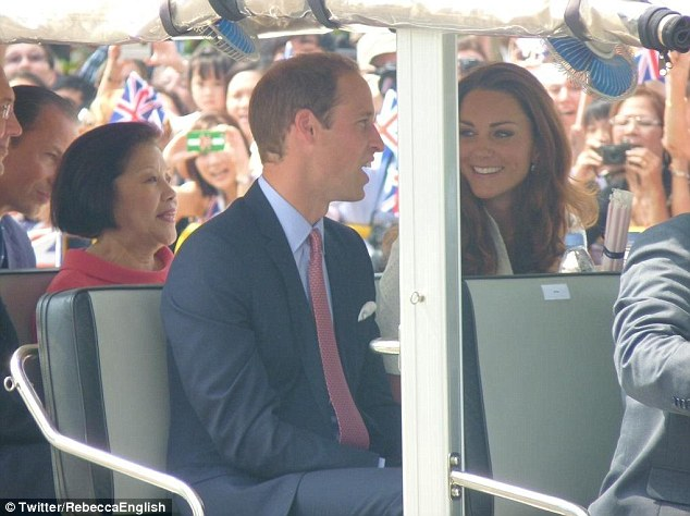 The Duke and Duchess of Cambridge at the Gardens By The Bay earlier this month