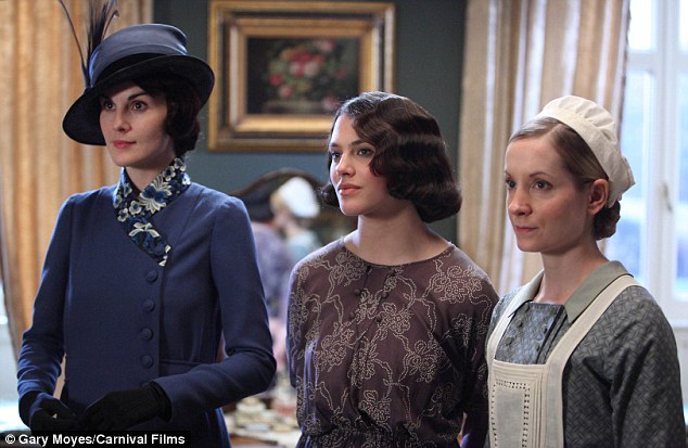 Line-up: Lady Mary and Lady Sybil stand with Joanne Froggatt as Anna (l-r) in the show's third series