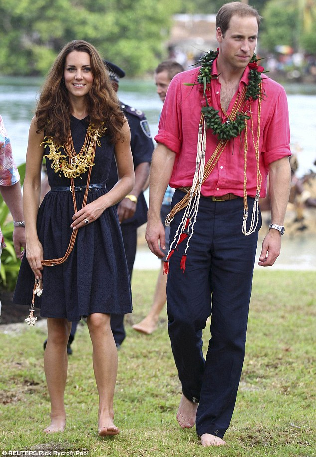 The barefoot Royals: The Duke and Duchess of Cambridge arrived barefoot in Tavanipupu, Solomon Islands, during the latest leg of their South Pacific tour
