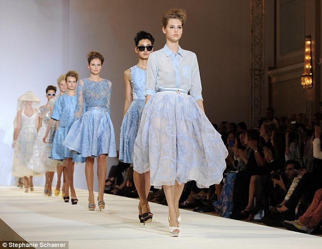 The colour pallette was ivory and ice blue in Temperley's elegant new collection