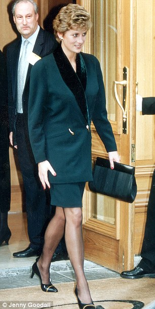 Royal favourite: Kate wear a navy suit by Amanda Wakeley, left. She wasn't the first Royal to wear her designs, her late mother-in-law Diana was also a fan wearing one of her suits in the early nineties, right