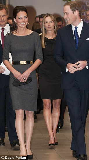 The Duchess of Cambridge wearing creations by Amanda Wakeley at a Clarance House private dinner, left, and during a visit to the Imperial War Museum, right