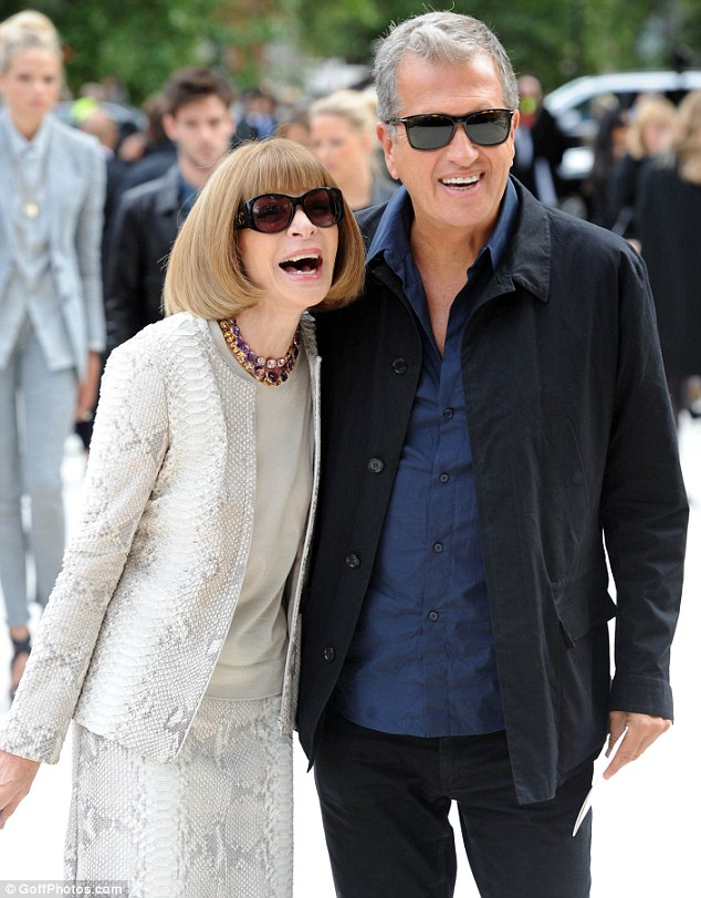 The funny crowd: Powerful friends Anna Wintour and Mario Testino turned up to assess the show together
