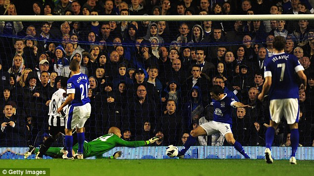 Off the line: Newcastle themselves forced the hosts on the back foot, and Baines had to clear