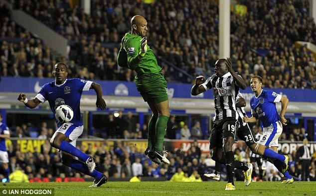 ... two minutes later, though, Demba Ba nudged a bouncing ball past Tim Howard and into the net