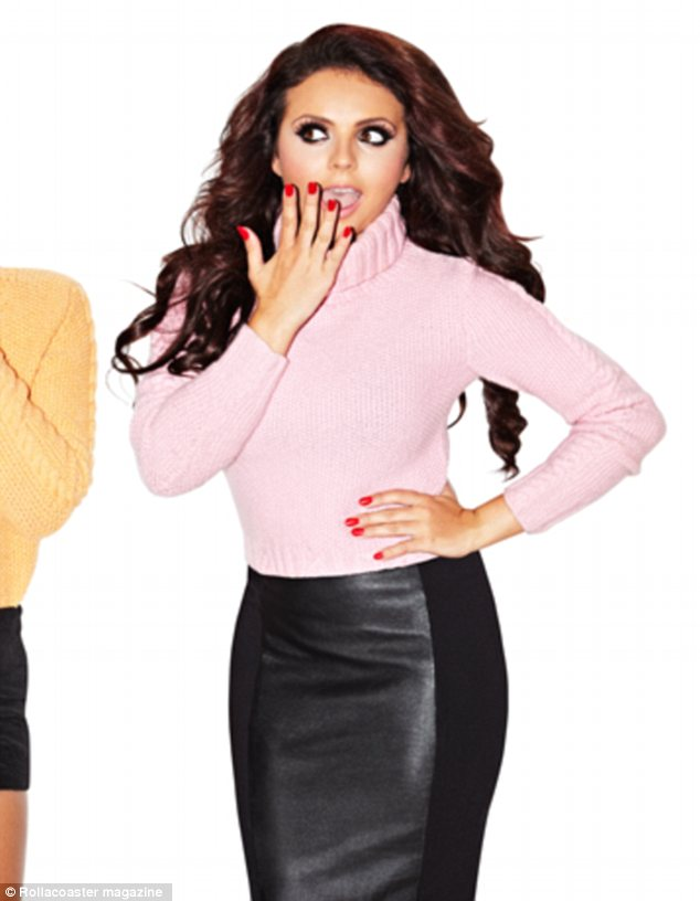 She really is Little! Jesy Nelson shoes off her trim shape in a leather skirt and powder pink jumped on the cover of Rollacoaster magazine