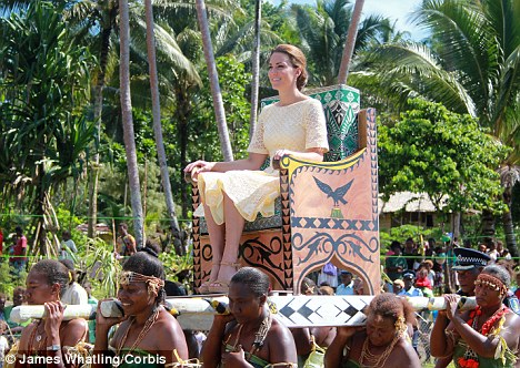 Her royal highness: The Duchess of Cambridge at a ceremony today in the Solomon Islands