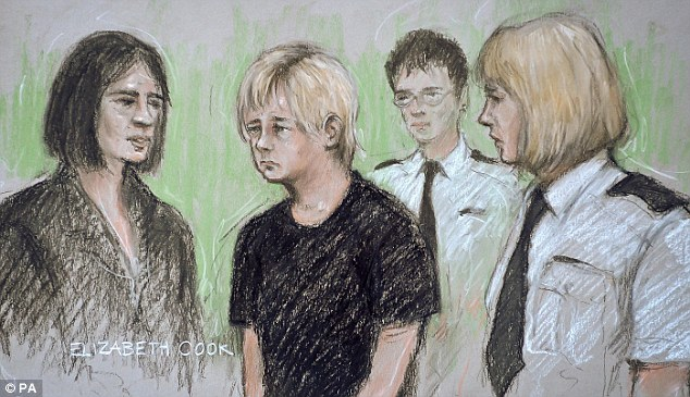 Anna Julia Lagwinowicz (second left) is flanked by an interpreter (left) and officers as she sits in the dock at Bristol Magistrates court, Bristol, where she appeared charged with conspiracy to murder university graduate Catherine Wells-Burr