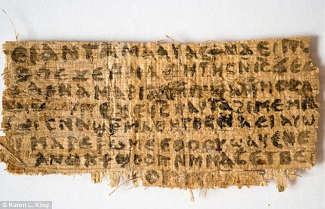 'Fake': A British New Testament scholar has called an ancient papyrus, pictured, suggesting Jesus married Mary Magdalene, is a forgery