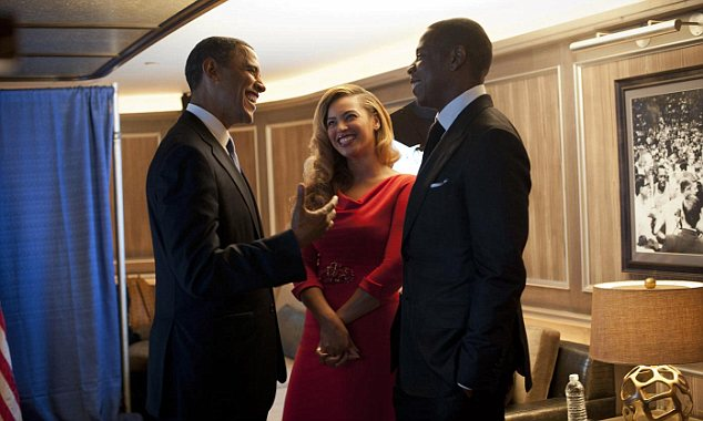Friends in high places: President Obama chats up Beyonce and Jay-Z at the $105,000 New York City champagne fundraiser the couple threw for him on Tuesday night
