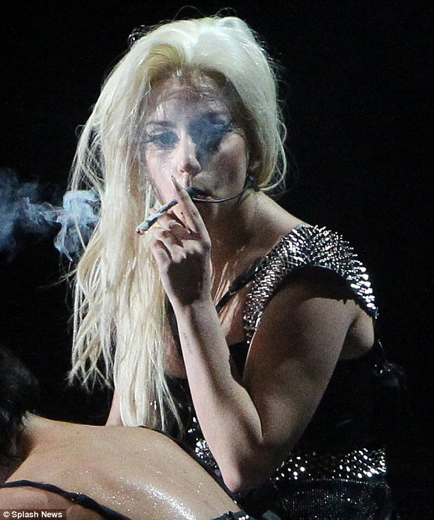 Controversial: Lady Gaga smoking a joint on stage