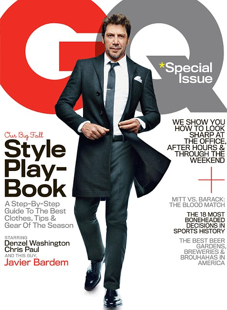 GQ man: Javier Bardem smoulders on the cover of GQ magazine, out September 25. It's one of three alternate covers that also feature Denzel Washington and NBA All-Star  Chris Paul