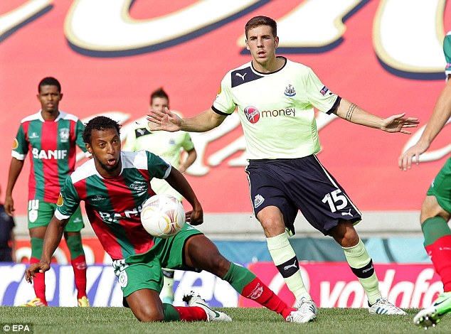 Heated: The match between Maritimo and Newcastle had its fair share of rough and tumble