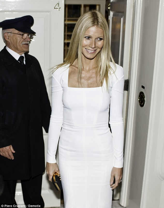 All white on the night:  Gwyneth Paltrow hosts a fundraising dinner in London for President Barack Obama's 2012 re-election bid