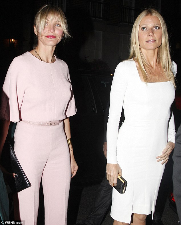 Smiles all round: Gwyneth and Cameron both looked in good spirits and happy to be involved in the occasion