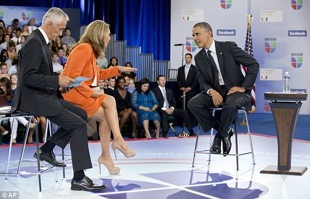 Sore points: Obama admitted where he had failed as President during a TV forum on Thursday, hosted by Univision news anchors Jorge Ramos, left, and Maria Elena Salinas at the University of Miami