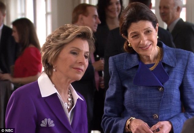 Feminist icons: Barbara Boxer, left, and Olympia Snowe meet Ms Poehler's character, Leslie Knope