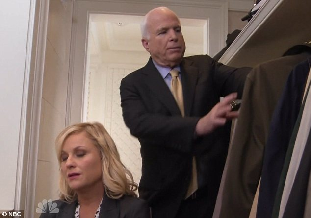 Starry cameo: Senator John McCain pictured on NBC's Parks and Recreation with star Amy Poehler
