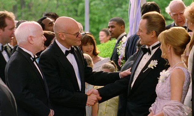 Not his first time: Mr McCain appeared alongside James Carville in 2005 comedy Wedding Crashers