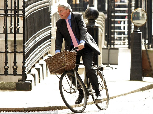 Tirade: Andrew Mitchell arriving in Downing Street on his trusty bicycle