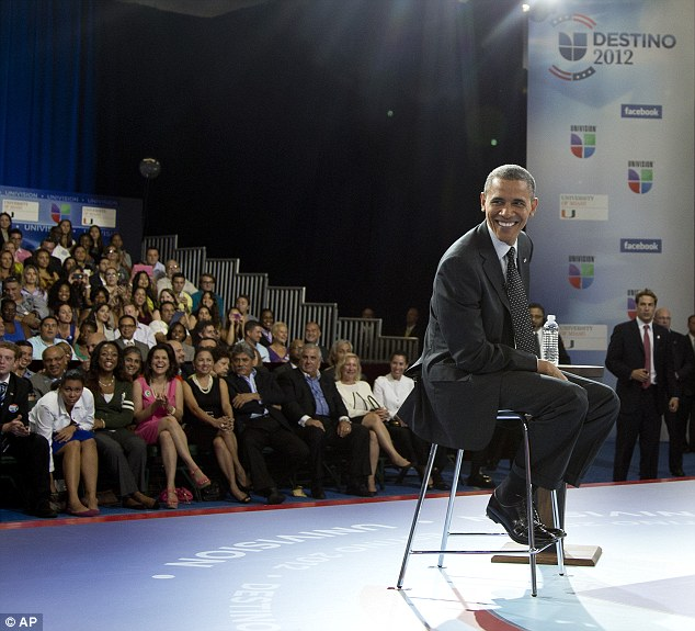 All smiles: Obama reassured the largely Latino audience that he was still the right man for the top job in Washington