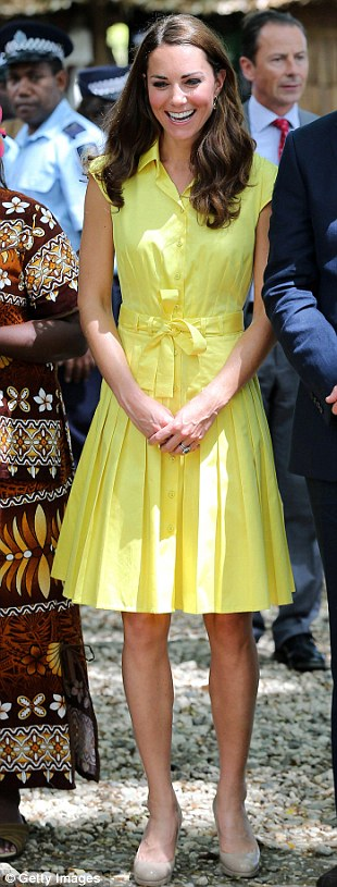 JAEGER, £180: This High Street canary yellow dress has now been reduced to £75, worn again with her trusty nude heels