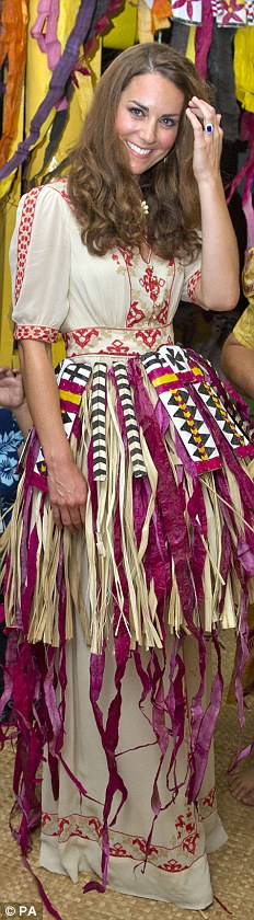 ALICE TEMPERLEY, £595: Kate was given a traditional grass skirt which she wore over her designer dress in the Soloman Islands