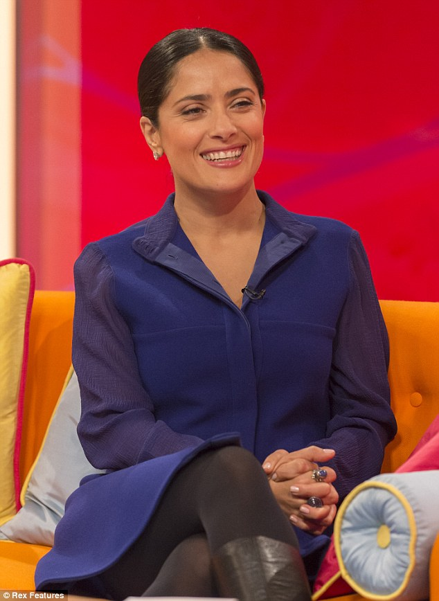 Screen perfection: Actor Salma Hayek revealed on ITV1's Lorraine that she does not wash her face in the morning and that's how she keeps her youthful look