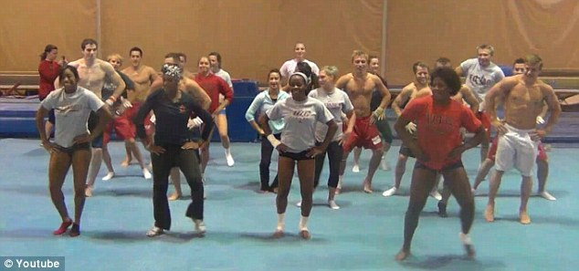 Shake it: The gymnastics team show they've got the moves mastered to perfection