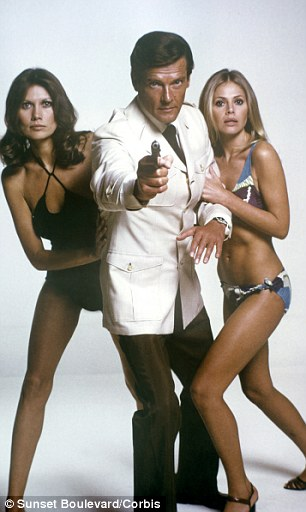 How things change: Britt Ekland today (left) and (right) in The Man with the Golden Gun alongside Maud Adams and Roger Moore