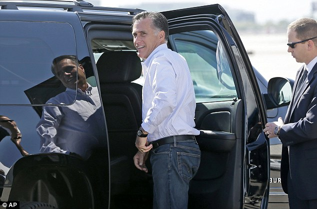 Arrival: Republican presidential candidate and former Massachusetts Gov. Mitt Romney gets in his vehicle as he arrives in Las Vegas today