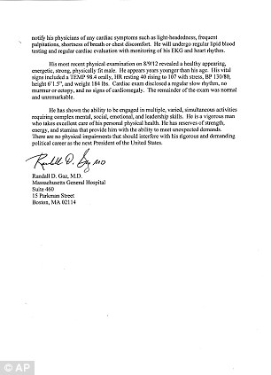 Second page of healthcare statement from Republican presidential candidate Mitt Romney's doctor