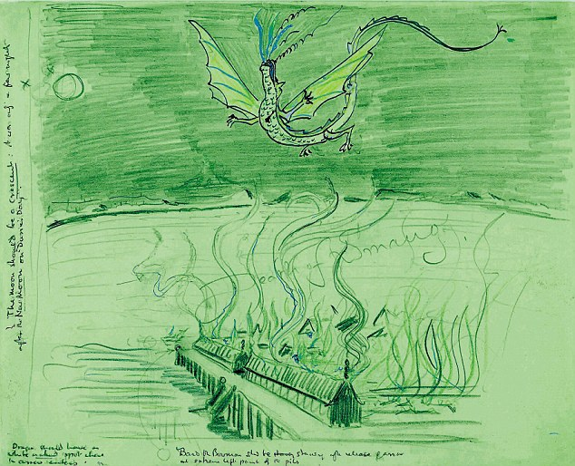 The previous unseen drawings from  Tolkien have been released as part of the 75th birthday celebrations of The Hobbit