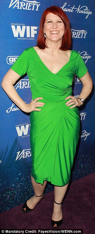 Going green: Actress Morena Baccarin and Kate Flannery