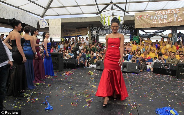Lady in red: The pageant has been running for several years and is a big event for the prisoners
