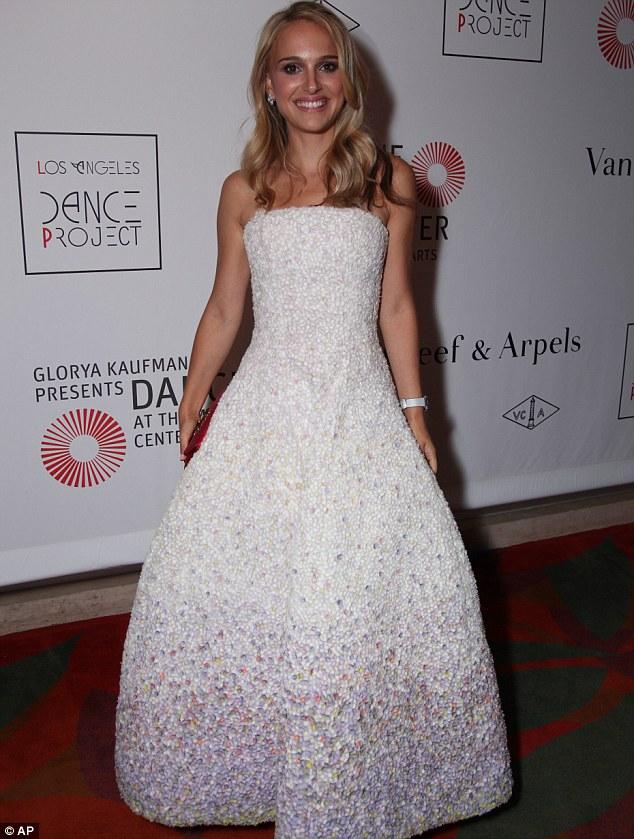 Bottle blonde: Natalie Portman stepped out last night sporting shoulder length blonde locks