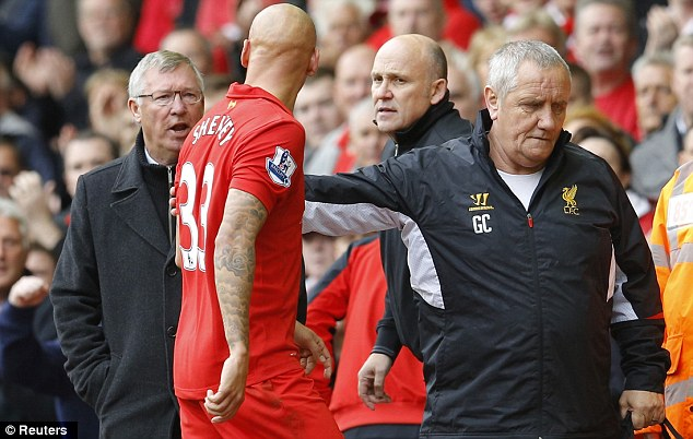 Stand-off: Sir Alex Ferguson and Jonjo Shelvey squared up on the sidelines