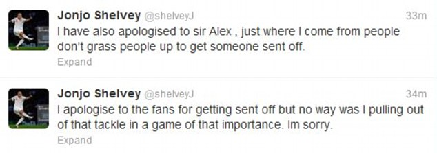 Tweets: Shelvey's dual apologies - he later deleted the one to Ferguson
