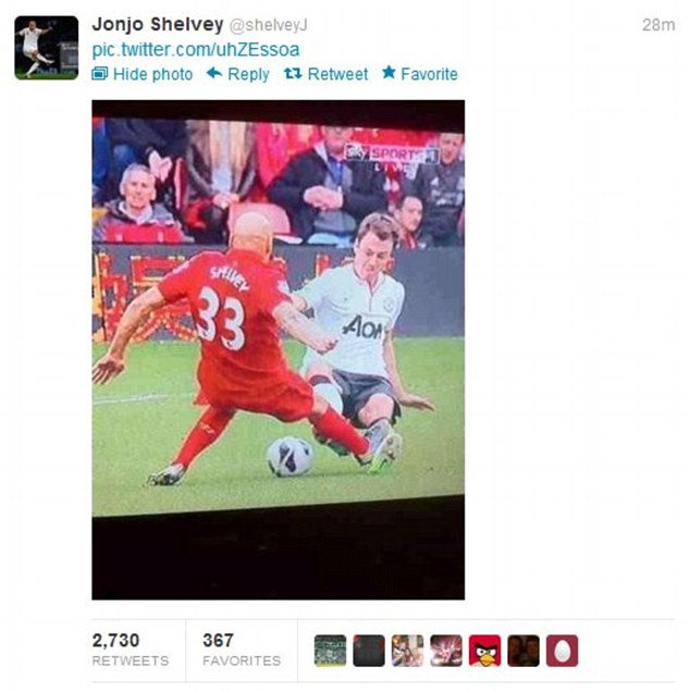 Additional: Shelvey also tweeted a picture of the tackle, perhaps to signify Evans went in similarly to him