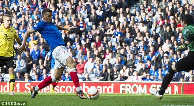 Three: Lee McCullock strikes Rangers' third goal