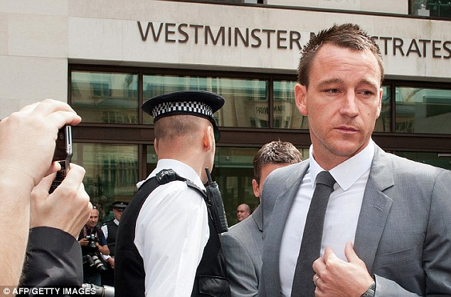 Busy summer: Terry attends his court case (above) a month on from playing for England at Euro 2012 (below)