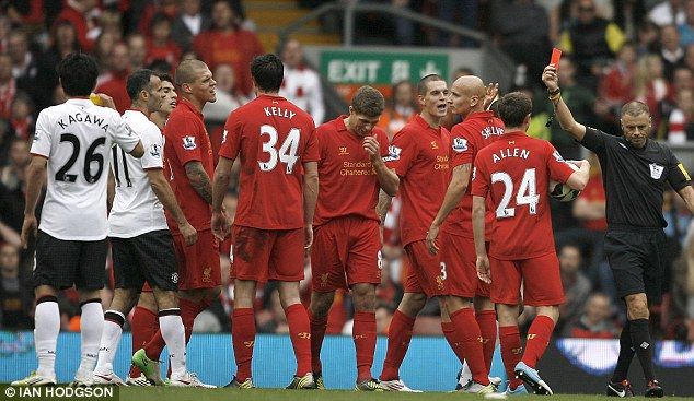 Early bath: Jonjo Shelvey was sent off for Liverpool as they lost to Manchester United