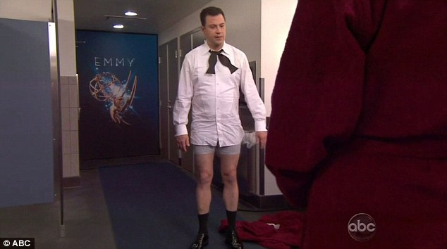 Something missing: Kimmel is ready to go on, but he's missing a key piece of wardrobe