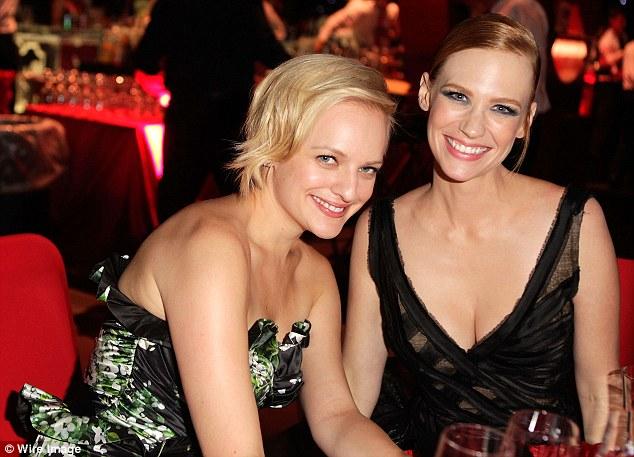 Draper's dolls: Hendricks' co-stars January Jones and Elisabeth Moss also attended the Emmy Awards Governor's Ball